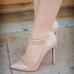 Women's Patent Leather Stiletto Heel Sandals Pumps Closed Toe With Rhinestone Buckle shoes
