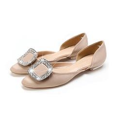 Femmes Satiné Talon plat Chaussures plates Bout fermé avec Strass chaussures