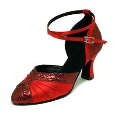 Women's Satin Sparkling Glitter Heels Pumps Ballroom Dance Shoes