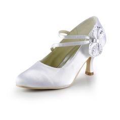 Women's Satin Spool Heel Closed Toe Pumps With Bowknot Rhinestone