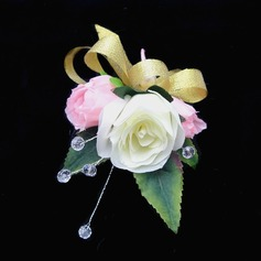 Sweet Free-Form Satin/Cotton Boutonniere
