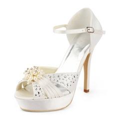Women's Satin Stiletto Heel Platform Sandals With Imitation Pearl Rhinestone