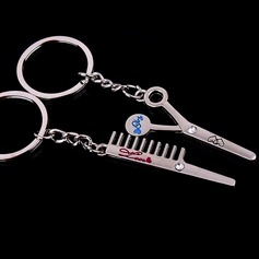 Klassische Kam en Schaar Gevormd Zink Legierung Schlüsselanhänger (Set aus 4 paar)
