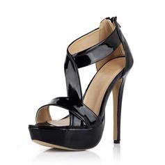 Patent Leather Stiletto Heel Sandals Pumps Platform Peep Toe With Zipper shoes