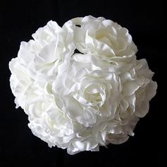 Pure White Round Satin Bridal Bouquets