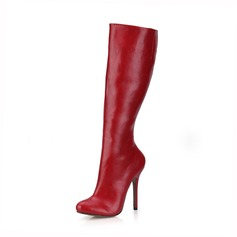 Women's Leatherette Stiletto Heel Pumps Closed Toe Boots Knee High Boots shoes