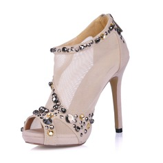 Suede Stiletto Heel Sandals Platform Peep Toe Ankle Boots With Rhinestone shoes