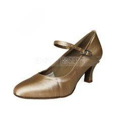 Women's Satin Heels Pumps Ballroom With Buckle Dance Shoes