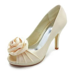 Women's Satin Cone Heel Peep Toe Platform Sandals With Satin Flower