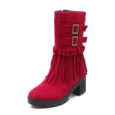 Women's Suede Chunky Heel Mid-Calf Boots With Tassel shoes