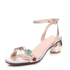 Women's Real Leather Chunky Heel Sandals Beach Wedding Shoes With Buckle Rhinestone