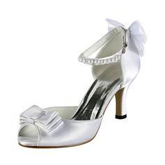 Women's Satin Stiletto Heel Peep Toe Sandals With Bowknot Imitation Pearl