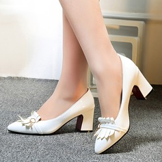 Women's Patent Leather Chunky Heel Pumps Closed Toe With Tassel shoes