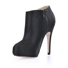 Silk Stiletto Heel Closed Toe Platform Ankle Boots