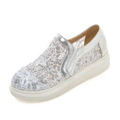 Femmes Similicuir Dentelle Talon plat Chaussures plates Bout fermé chaussures
