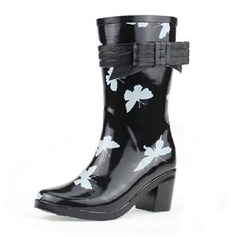 Women's Rubber Chunky Heel Mid-Calf Boots Rain Boots With Bowknot shoes