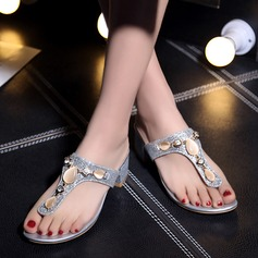 Women's Leatherette Flat Heel Sandals Flats Peep Toe Slippers With Rhinestone shoes