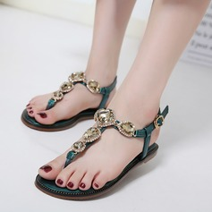 Women's Leatherette Flat Heel Flats Sandals Beach Wedding Shoes With Rhinestone