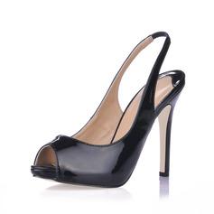 Patent Leather Stiletto Heel Sandals Peep Toe Slingbacks shoes