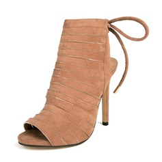 Women's Suede Stiletto Heel Boots Peep Toe Slingbacks Ankle Boots With Lace-up shoes