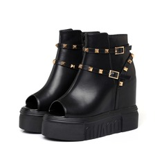 Women's Real Leather Wedge Heel Platform Wedges Peep Toe Ankle Boots With Buckle shoes