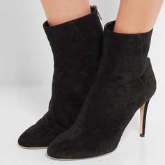 Women's Suede Stiletto Heel Pumps Ankle Boots With Zipper shoes