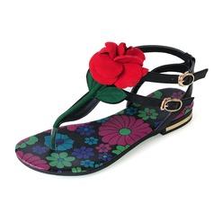Real Leather Flat Heel Sandals Flats With Flower shoes