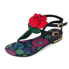 Vrai cuir Talon plat Sandales Chaussures plates avec Fleur chaussures