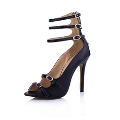Patent Leather Stiletto Heel Sandals Peep Toe With Buckle Zipper shoes