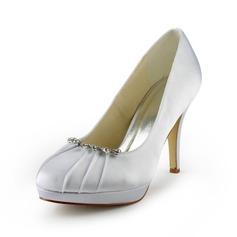 Women's Satin Cone Heel Closed Toe Platform Pumps With Rhinestone