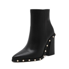 Women's Leatherette Chunky Heel Pumps Mid-Calf Boots With Rivet shoes