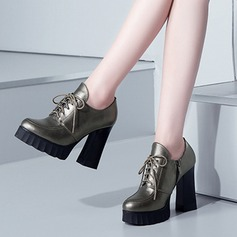 Women's Real Leather Chunky Heel Closed Toe Ankle Boots shoes