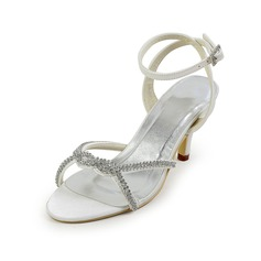 Women's Leatherette Cone Heel Sandals With Buckle Rhinestone