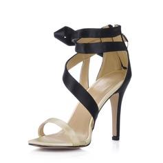 Women's Silk Like Satin Stiletto Heel Sandals Slingbacks With Satin Flower