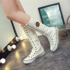 Women's Canvas Flat Heel Flats Closed Toe Boots With Satin Flower Zipper Lace-up shoes