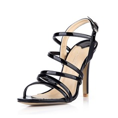 Patent Leather Stiletto Heel Sandals Pumps Peep Toe Slingbacks With Buckle shoes
