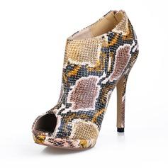 Kvinnor Konstläder Stilettklack Peep Toe Boots med Animaliska Tryck skor