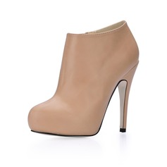 Leatherette Stiletto Heel Closed Toe Platform Ankle Boots