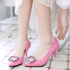 Women's Suede Stiletto Heel Pumps Closed Toe With Rhinestone shoes