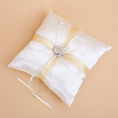 Ring Pillow in Satin With Ribbons/Rhinestones