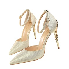 Women's Sparkling Glitter Stiletto Heel Pumps Closed Toe With Jewelry Heel shoes