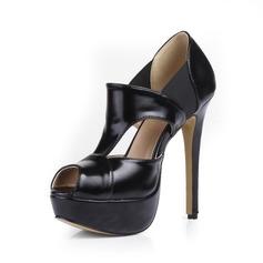 Leatherette Stiletto Heel Sandals Platform Peep Toe shoes