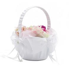Klassisk Blomkorg i Satäng med Fauxen Pärla