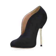 Kvinnor Mocka Stilettklack Stängt Toe Boots skor