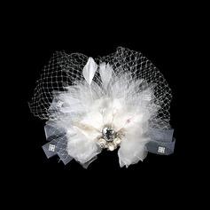 Prächtig Kunstseide/Netz Blumen und Federn
