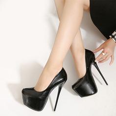 Women's Leatherette Stiletto Heel Pumps Platform Closed Toe With Animal Print shoes