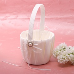 Elegant Flower Basket in Satin With Ribbon & Faux Pearl