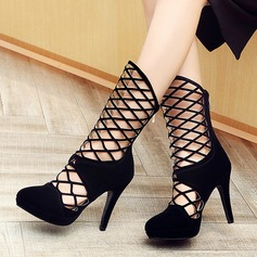 Women's Leatherette Stiletto Heel Sandals Pumps Closed Toe Mid-Calf Boots With Zipper Hollow-out shoes