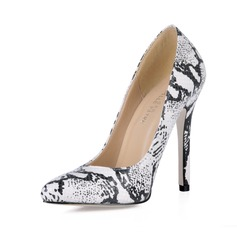Leatherette Stiletto Heel Pumps Closed Toe With Animal Print shoes