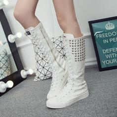 Women's Canvas Flat Heel Flats Closed Toe Boots With Rivet Zipper Lace-up shoes